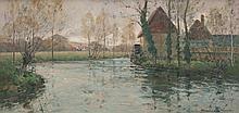 Paul Emile LECOMTE (1877-1950) Paysage au moulin. Huile sur toile.