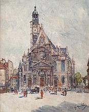 Gustave MADELAIN (1867-1944) L'église sur la place. Huile sur toile.