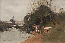 Eugène GALIEN-LALOUE (1854-1941)  Lavandières près de Grez-sur-Loing.