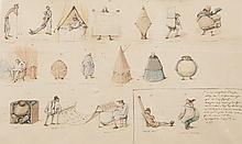 Pierre LETUAIRE (1798-1884) Les formes géométriques. Aquarelle et encre.