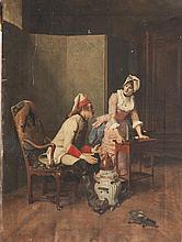 Charles Edouard DELORT (1841-1895) Le grognard et la servante. Huile sur toile.