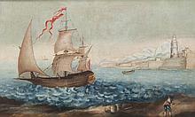 Ecole marseillaise vers 1700 Un brick quittant le port de Marseille devant la tour  ronde du fort Saint Jean.