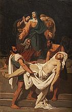 Ecole française du début du XIXème siècle Mise au tombeau. Sur sa toile d'origine (Haro).