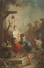 Ecole allemande du XVIIIème siècle La rencontre de Rebecca et d'Eliezer. La rencontre de Rachel et Jacob. Paire de toiles, sur leurs toiles d'origine.