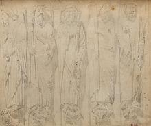 Eugène Delacroix (1798-1863) Sculptures du portail sud de la Cathédrale de Chartres. Dessin sur papier calque. Cachet de l'atelier en bas à droite.