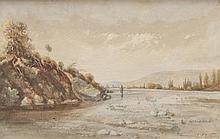 Paul GUIGOU (1834-1871) Lavandières en bord de Durance. Aquarelle.