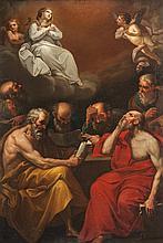 Ecole bolonaise du XVIIIème siècle, suiveur de Guido RENI La Dispute des Pères de l'Eglise sur le dogme de l'Immaculée Conception. Toile.
