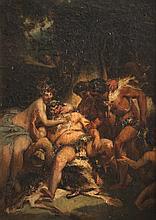 Ecole française du XIXème siècle L'ivresse de Silène. Sur sa toile d'origine.