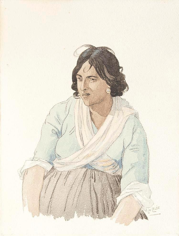 Léo LELEE (1872-1947)Gitanes.Paire d'aquarelles.Signées en bas à droite.38 x 30 cm.