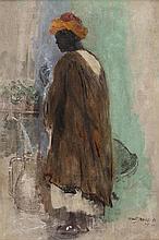 Albert SÉBILLE (1874-1953)  Porteur d'eau fumant une cigarette.