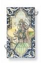 Carreau au roi légendaire Carreau de revêtement décoré en polychromie d'un portrait en pied d'un roi légendaire «Afrasiayab» dans un médaillon flanqué d'écoinçons. Iran, XIXème siècle. 50 x 29 cm. Egrenures.
