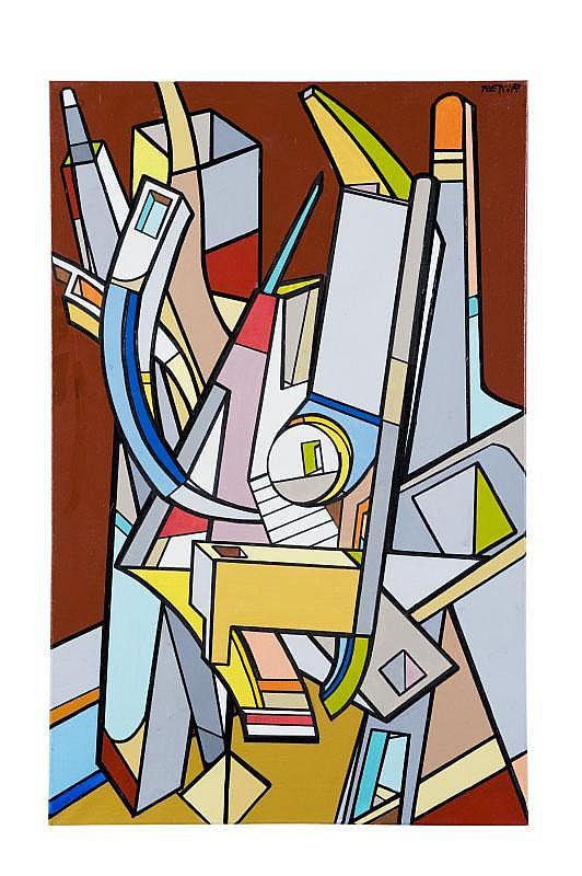 KENOR (1976) Arquitek serie - 2.Peinture acrylique sur toile.Signée et datée au dos 2008 Barcelone.90 x 50 cm.
