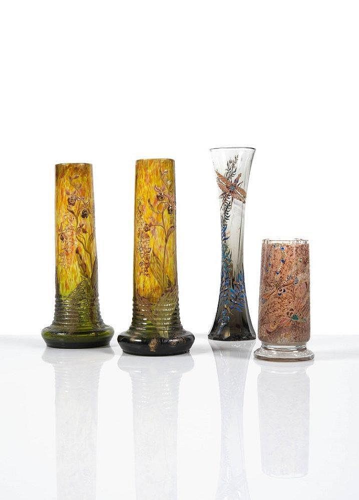 mile gall 1846 1904 vase de forme cylindrique en verre. Black Bedroom Furniture Sets. Home Design Ideas