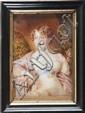 Ecole anglaise du XIXe siècle. Portrait d'une jeune femme à la robe blanche. Miniature sur ivoire. 7,7 x 11 cm.