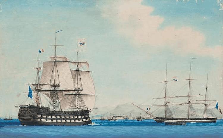 Marius GASQUY (XIXe) Bateaux dans la rade de Toulon. Gouache. Signée et datée 1840 en bas à droite. 52,5 x 83 cm.