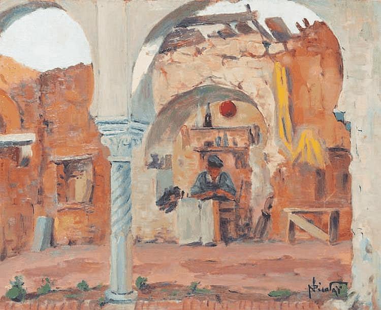 Paul NICOLAI (1876-1948/52) Scène orientaliste. Huile sur panneau. Signée en bas à droite. 33 x 40,5 cm.