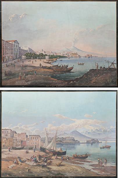 Giuseppe de NIGRIS (1832-1903) Naples, pêcheurs à la plage de Chiaia / Vue de naples Mergellina. Paire de gouaches. Signées en bas à droite. 44 x 59 cm.