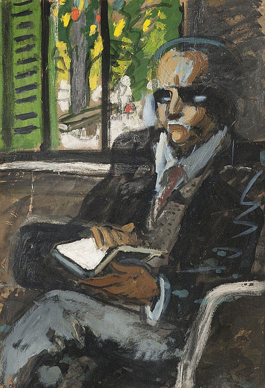 Auguste CHABAUD (1882-1955) Portrait d'homme au livre. Huile sur carton. Signée en bas à gauche. 76 x 54 cm. Etiquette de l'atelier Chabaud inventorié au n°375 au verso de l'oeuvre.