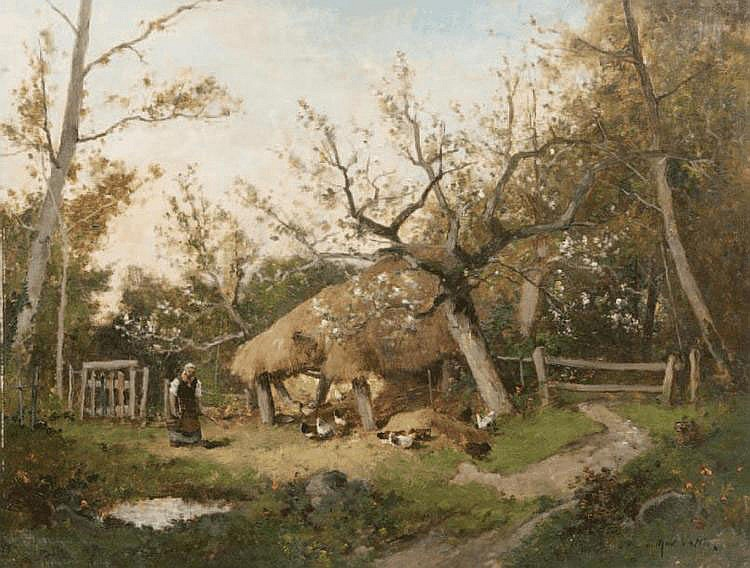 Etienne Maxime VALLÉE (act.1873-1881) Le poulailler. Huile sur toile. Signée en bas à droite. 50 x 65 cm.