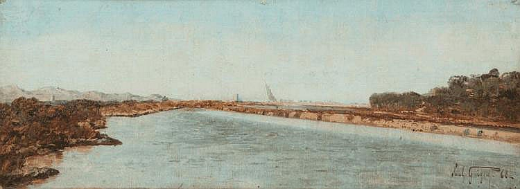 Paul Camille GUIGOU (1834-1871) Vue des Martigues. Huile sur toile. Signée et datée 68 en bas à droite. 17 x 42 cm. Le paysage est le thème privilégié de l'expression artistique de Paul Guigou. Il tourne résolument le dos à la ville et à ses