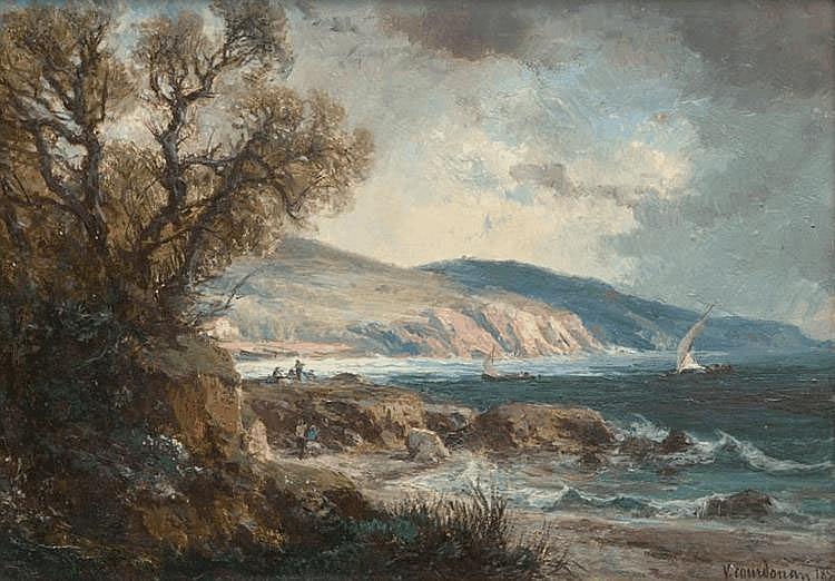 Vincent COURDOUAN (1810-1893) Bord de côte animé près de Toulon. Huile sur carton. Signée et datée 187... en bas à droite. 25 x 36 cm.