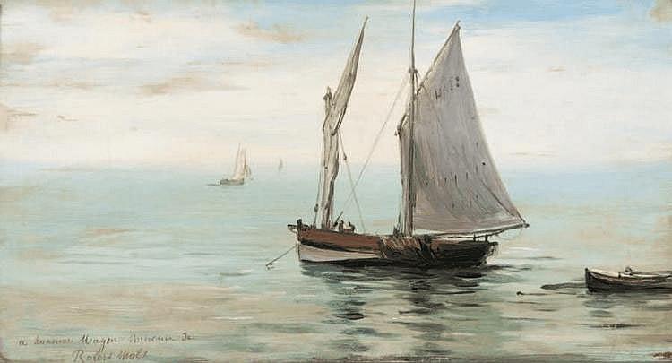 Robert Charles G. MOLS (1848-1903) Barque en mer. Huile sur panneau. Signée en bas à gauche. 20,5 x 32,5 cm.