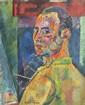 Pierre AMBROGIANI (1907-1985) Autoportrait en 1939. Huile sur toile. Signée en bas à gauche et datée au dos. 61 x 50 cm.