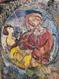 Richard MANDIN (1909-2002) Vierge à l'enfant. Huile sur papier marouflée sur carton. Signée en bas à droite. 63 x 48 cm. Bibliographie : Richard Mandin, catalogue raisonné, Masquin Plasse répertorié sous le numéro RE018.