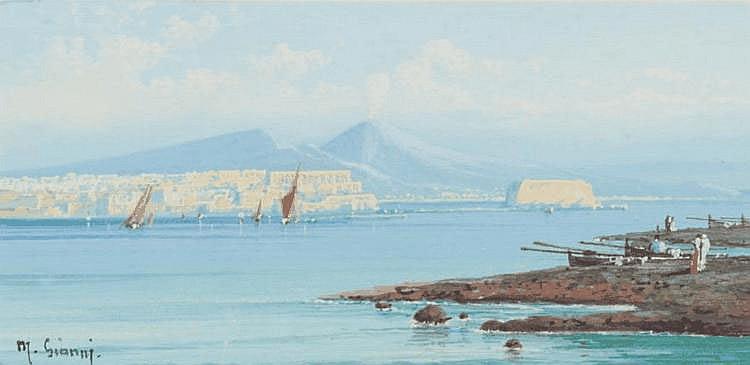 Gianni Naples. Aquarelle. Signée en bas à gauche. 11 x 22 cm.