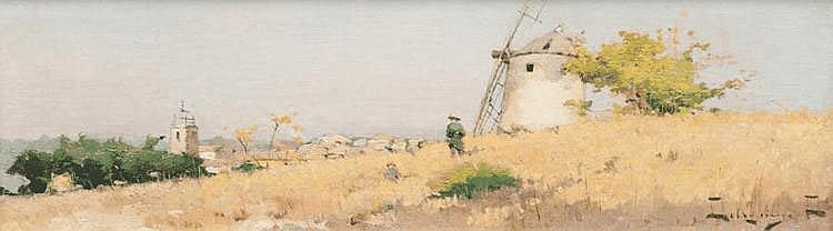 David DELLEPIANE (1866-1932) Le moulin de Daudet. Huile sur toile. Signée en bas à droite. 21 x 74 cm.
