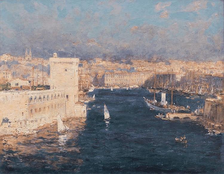 Jean-Baptiste OLIVE (1848-1936) L'entrée du Vieux-Port de Marseille Huile sur toile. Signée en bas à gauche. 50 x 61 cm. Interprète passionné de la corniche marseillaise qu'il préfère par temps de mistral avec des eaux bleues frangées d'écume,