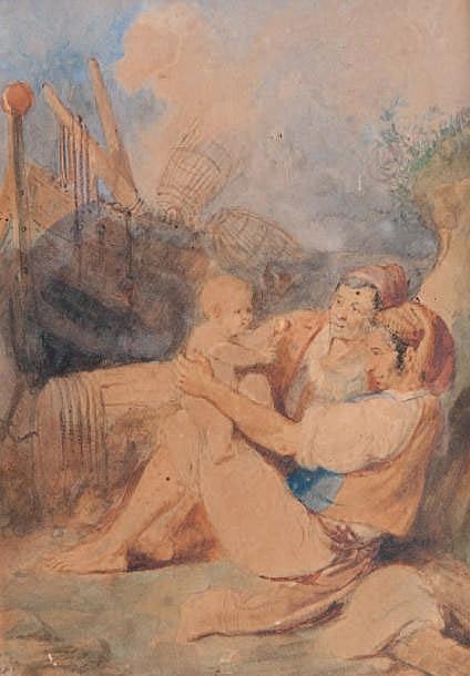 Alexis MOSSA (1844-1926) Pêcheurs et enfant. Aquarelle. Signée en bas à gauche. 27 x 19,5 cm.
