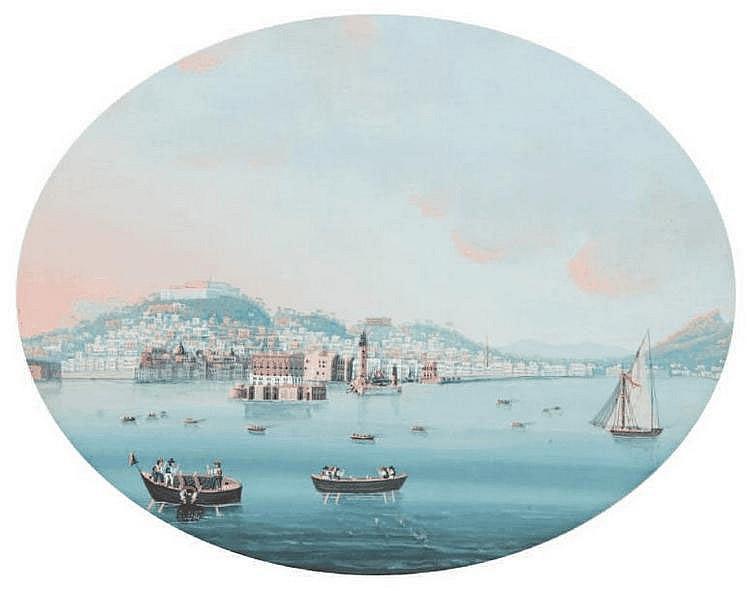 Ecole napolitaine du XIXe siècle La baie de Naples vue de la mer. Gouache sur papier ovale. 25 x 30 cm.