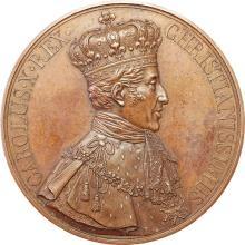 Charles X :  Médaille du Sacre à Reims, 1825 Paris par Gatteaux et De Puymaurin. Bronze 139,97 gr. 68 mm. Sb. 85d. Belle patine rougeâtre. Superbe