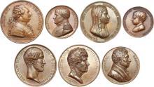 Lot de 7 médailles en bronze :  Arrivée du roi louis XVI à Paris le 6 octobre 1789. 69,24 gr. 53 mm.