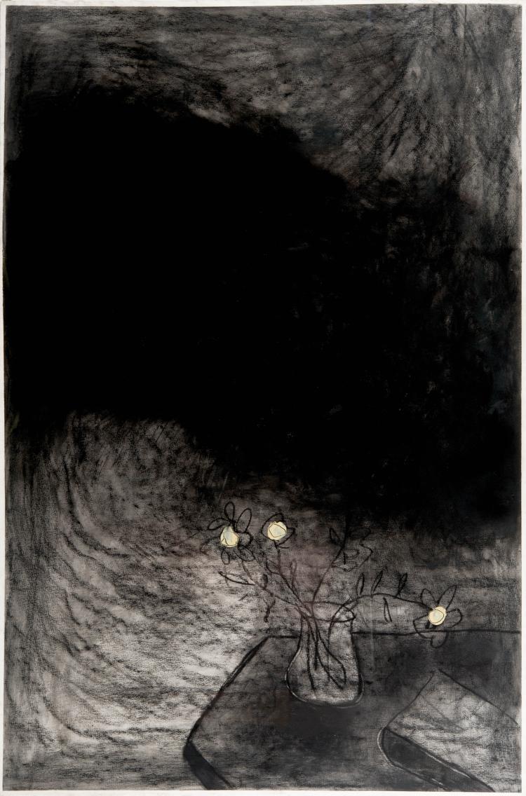 GIUSEPPE CACCAVALE (ITA/1960)  Sans titre, ca. 2000 Acrylique et fusain sur papier 120 x 79 cm