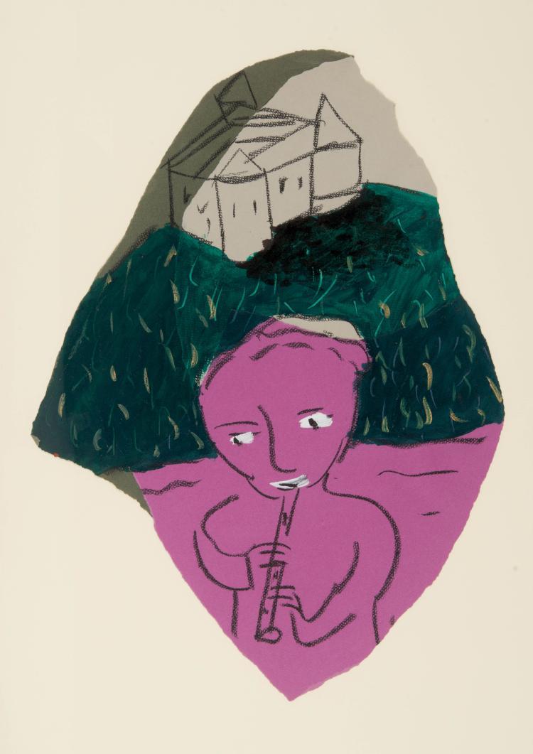 GIUSEPPE CACCAVALE (ITA/1960)  Sans titre, 1986 Acrylique, collage et fusain sur papier 57 x 42 cm