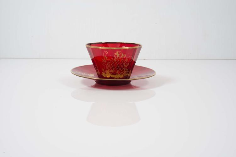 tasse th sans anse en verre souffl et taill sa base a. Black Bedroom Furniture Sets. Home Design Ideas