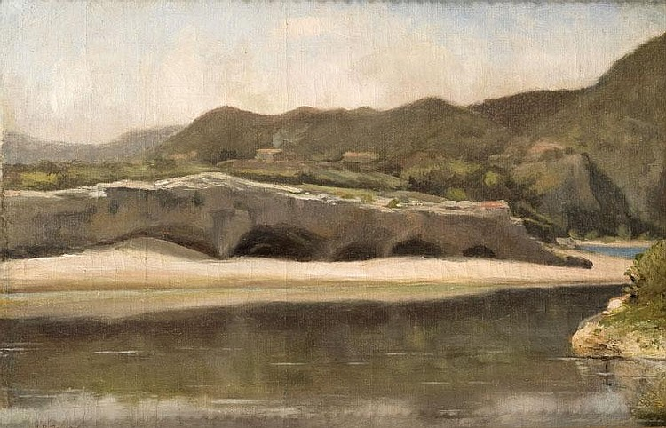 Jean-Baptiste BRUNEL(1844-1929)Les bords du Gardon.Sur sa toile d'origine.Signée et datée en bas à gaucheJ.B. Brunel 1883. Localisée aurevers Colliers Bord du Gardon.27 x 40,5 cm.