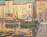 Jules Hervé MATHE (1858-1953)Le port de Saint Tropez.Huile sur carton.Signée en bas à droite.50 x 61 cm.