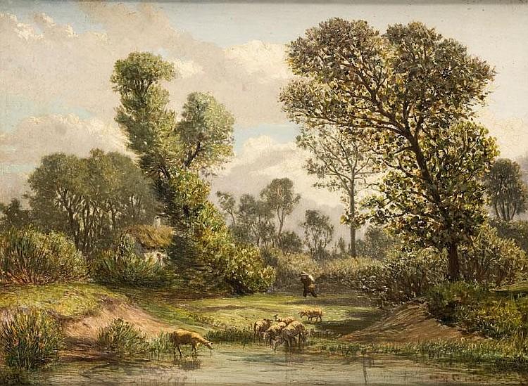 Prosper GRESY (1804-1874)Troupeau au lac.Huile sur toile.Signée en bas à droite.65 x 81 cm.