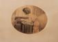 Maurice Millière (1871-1946) Jeune fille accroupie. Gravure de forme ovale. Signée en bas à droite. H. : 52 cm. L. : 72 cm.