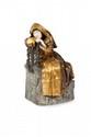 Pietro Canonica (1869-1959) Recueillement. Sujet en bronze polychrome et ivoire. Signé. Repose sur une colonne en porphyre et bronze doré. H. (sculpture) : 34,5 cm.