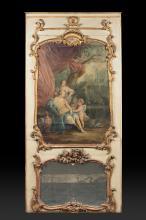 Important trumeau en bois peint et doré à double encadrements  à décor de rocailles, feuillages et agrafes, l'un à miroir,
