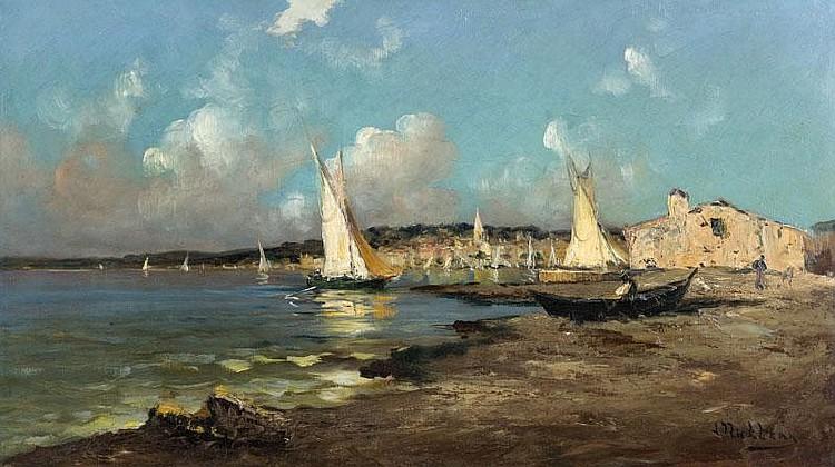 Louis NATTERO (1870-1915)Le Brusc.Huile sur panneau.Signée en bas à droite.43 x 72 cm.
