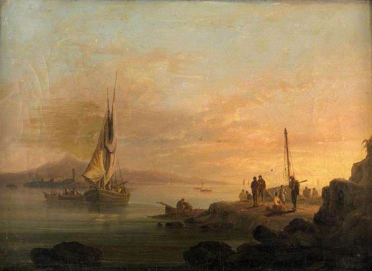 François Pierre BARRY(1813-1905)Le retour de la pêche.Huile sur toile.Signée en bas à gauche.37 x 51 cm.