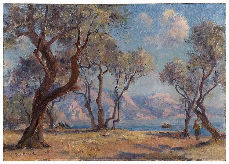 Frédéric MONTENARD (1849-1926)Aux environs de Toulon.Huile sur toile.Signée en bas à gauche.46 x 65 cm.