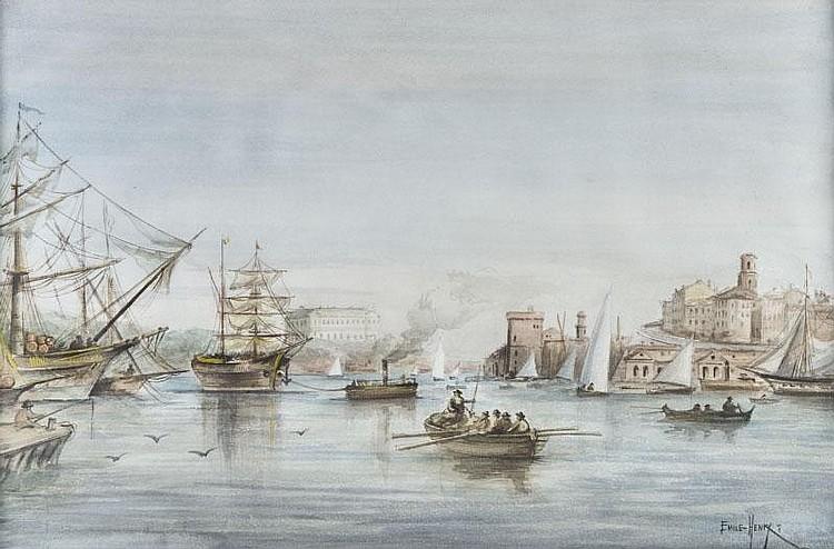 Emile HENRY (1842-1920)Le port de Marseille.Aquarelle. Signée en bas à droite.26,5 x 40 cm.