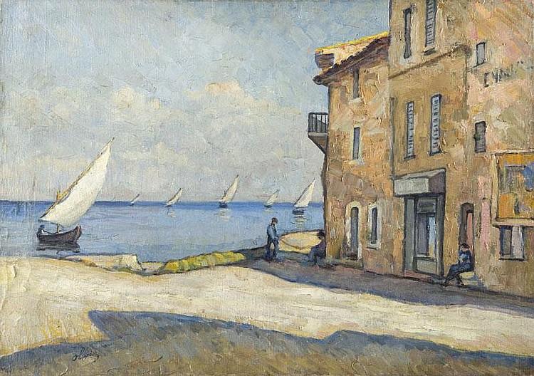 Ferdinand OLIVIER (1873-1957)Les Martigues.Paire d'huiles sur toile.Signées en bas à gauche.46 x 65 cm.
