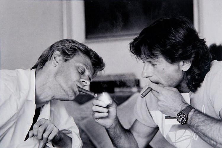 Vladimir SICHOV (né en 1942)Mikhaël Baryshnikov et Roman Polanski.Tirage argentique postérieur, signé et titré.50 x 70 cm